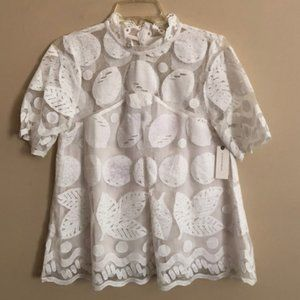 Anthro White Lace Swing Top - Sz 6 - NWT